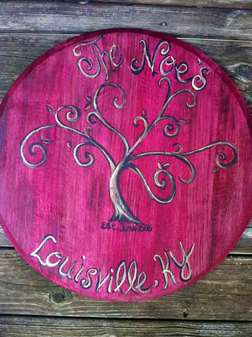 Bourbon Barrel Head - Family Name
