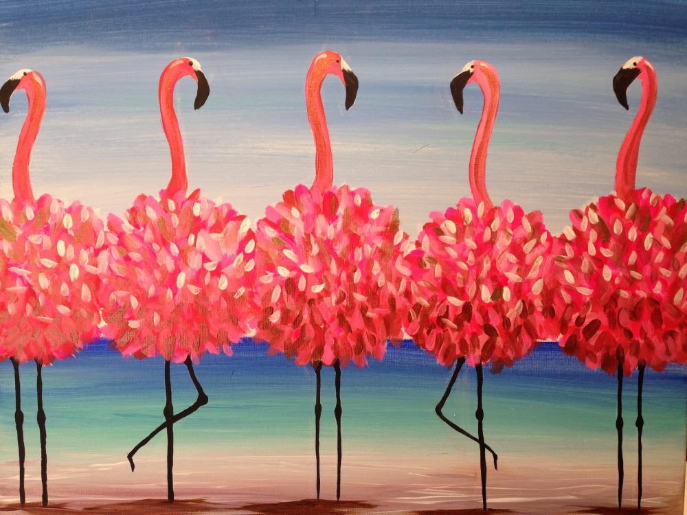 flamingo, girl's night out, wine and painting, paint class, paint night