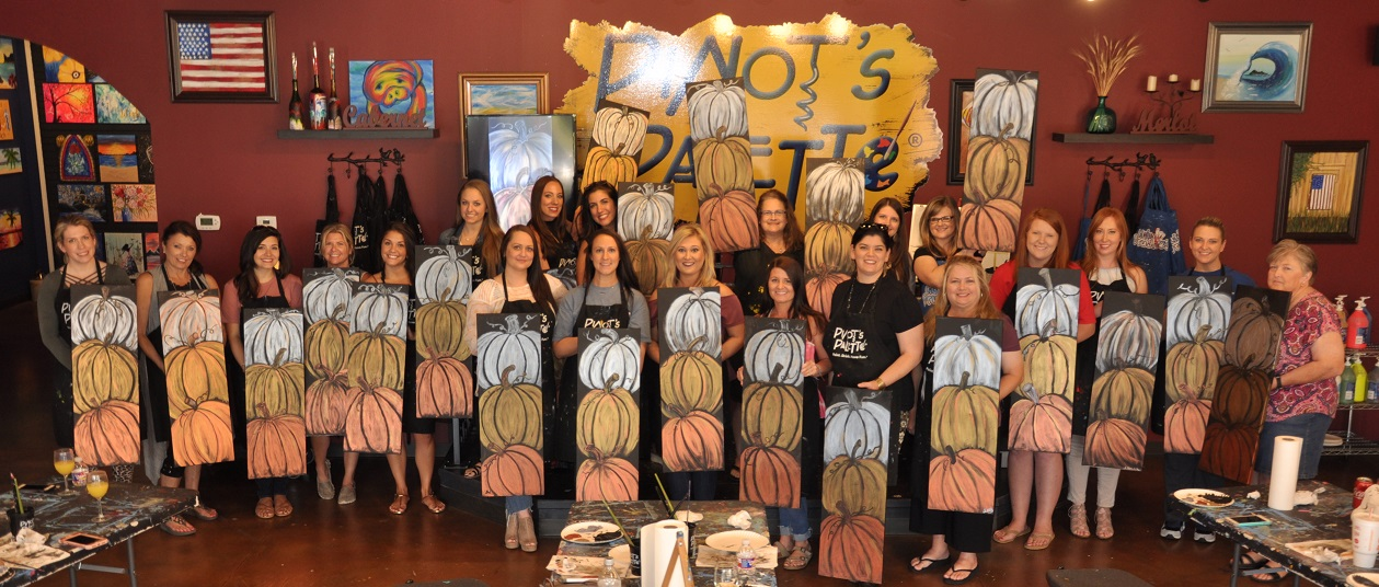 Lovely ladies with their piles of pumpkins! Fall paintings are here at Pinot's Palette Cordova, so grab some friends and join us to paint, drink, and have fun!