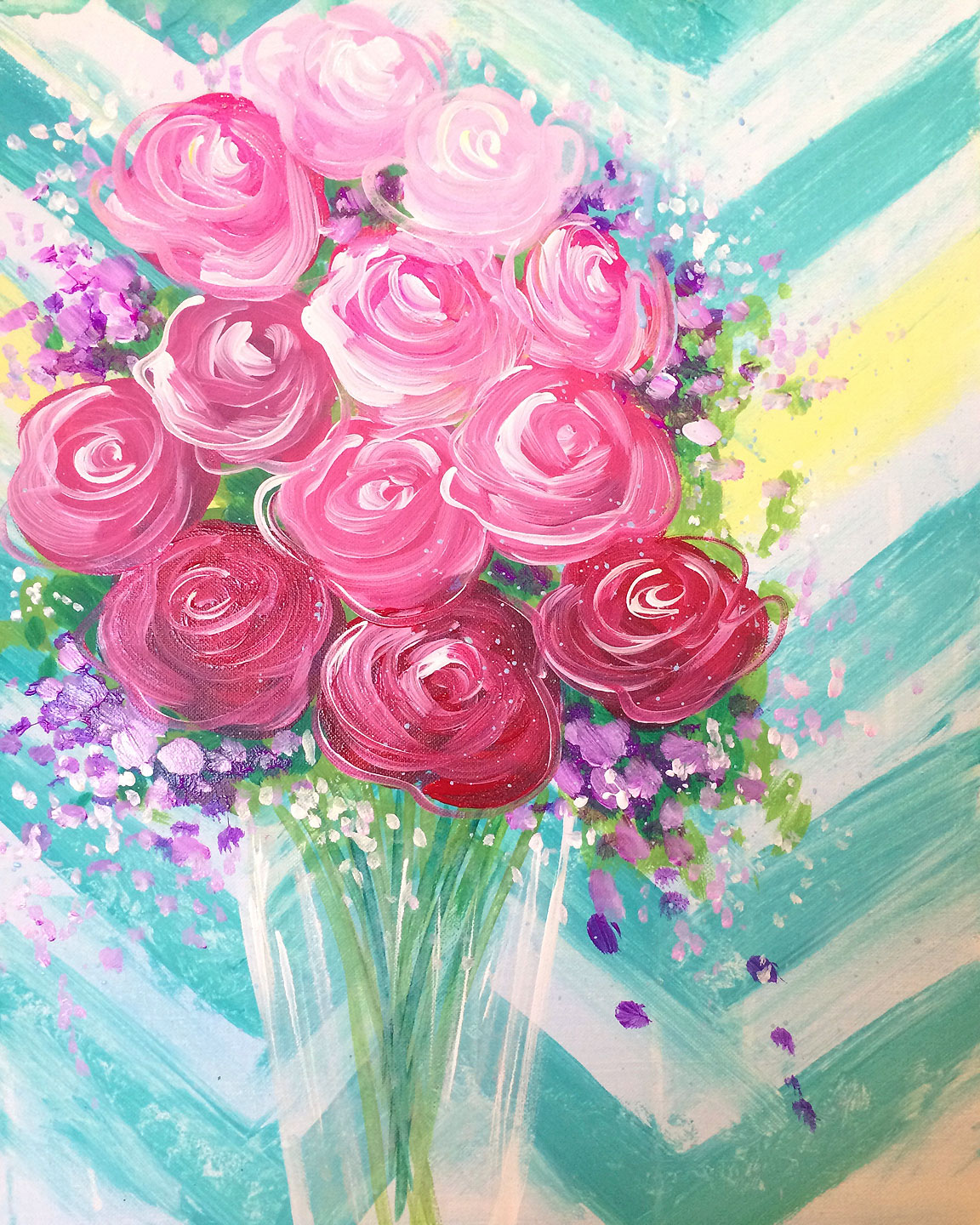 Expressive brush strokes, gentle spring colors and a subtle touch of ombre come together to form a lavish Pinot's arrangement.