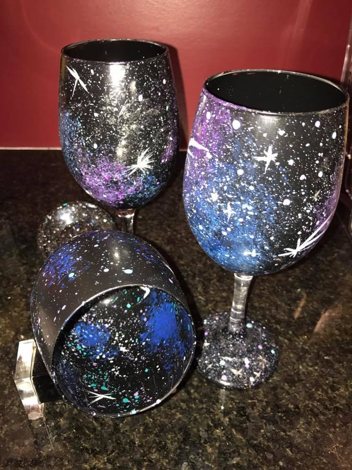Galaxy Inside and Outside Wine Glass Class