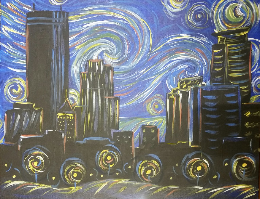 Pinot's Palette St. Louis Park premier paint and sip Starry Night over Minneapolis