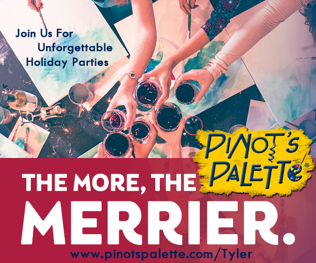 Christmas parties, paint and sip, pinot's palette, holiday plans