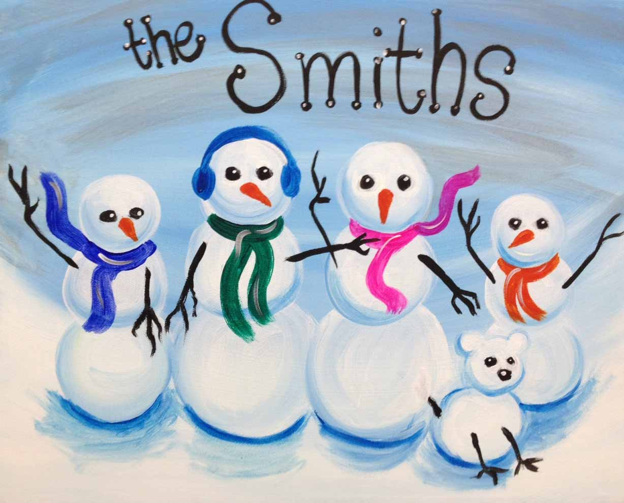 Painting, Pinot's Palette, Paint and Sip, Girls Night Out, Christmas Art, Snowman, Poinsettia