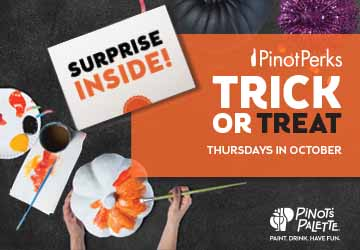 Halloween, costume party, paint and sip, trick or treat, perk members