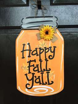 Happy Fall Y'all Mason Jar