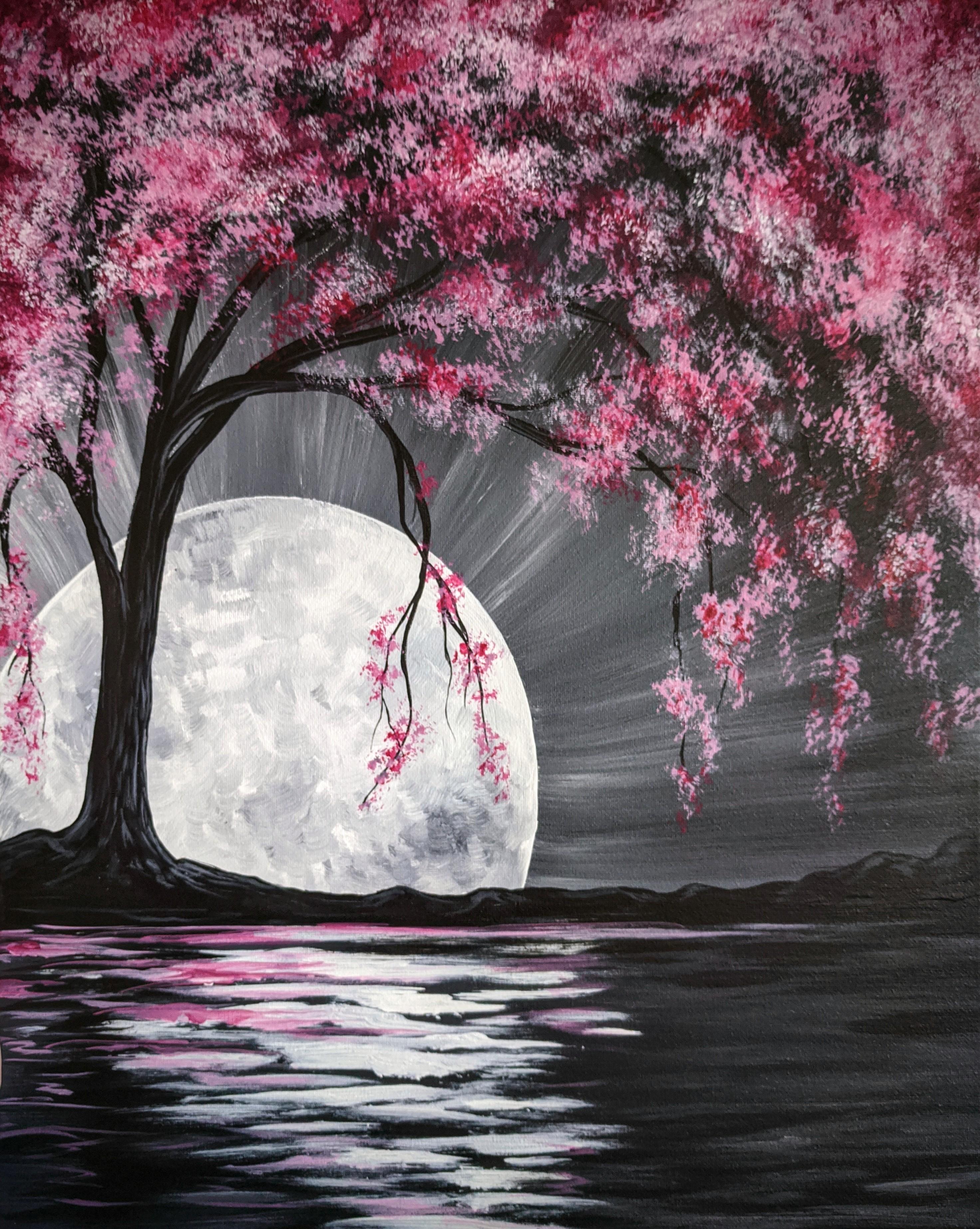 Beautiful Japanese Folding Fan Cherry Blossomes And Moon Indigo Sensu