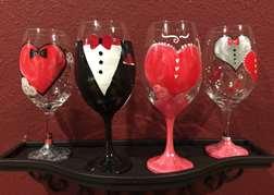 Valentine's Wine Glasses - Date Night